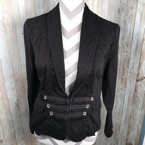 CAbi sz 8 black peplum military inspired blazer